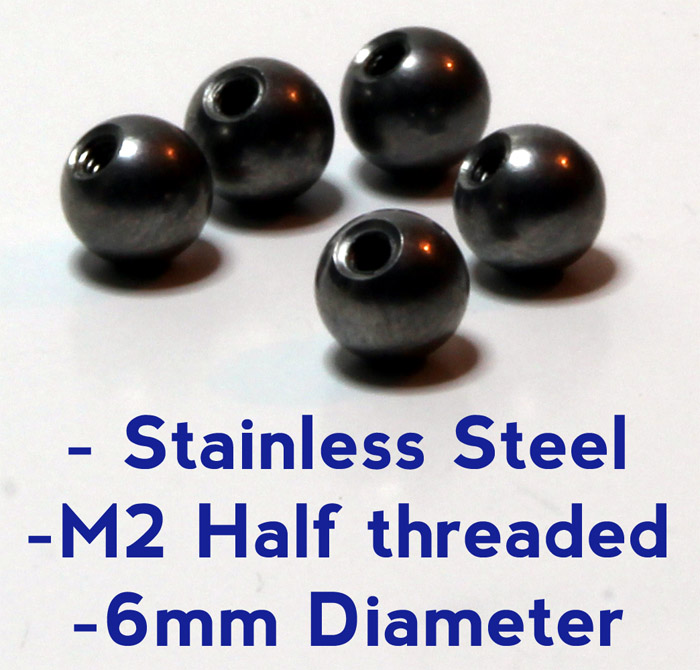 6mm M2 Half Thread Tapped Steel Ball NEW ITEM!