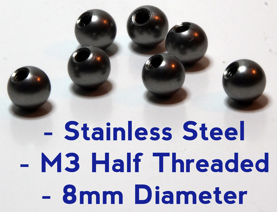 8mm M3 Half Thread Tapped Steel Ball NEW ITEM!