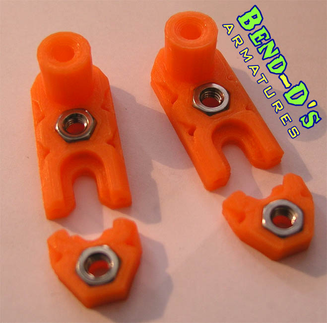Bend-D's 2X Armature Feet W/Wire (Orange Color)